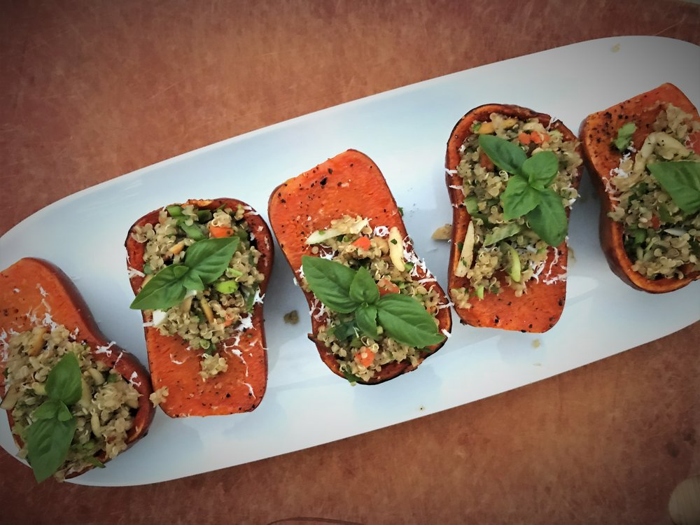 Stuffed Roasted Baby Squashes made in the Adventure Kitchen.