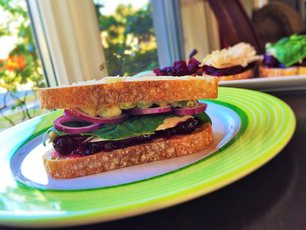 Cranberry-Bleu Turkey Sandwich made in the Adventure Kitchen, November 2015