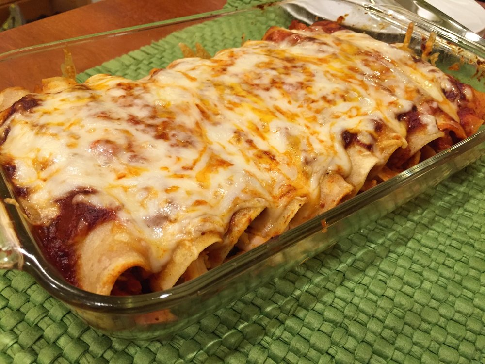 Turkey Enchiladas, made in the Adventure Kitchen