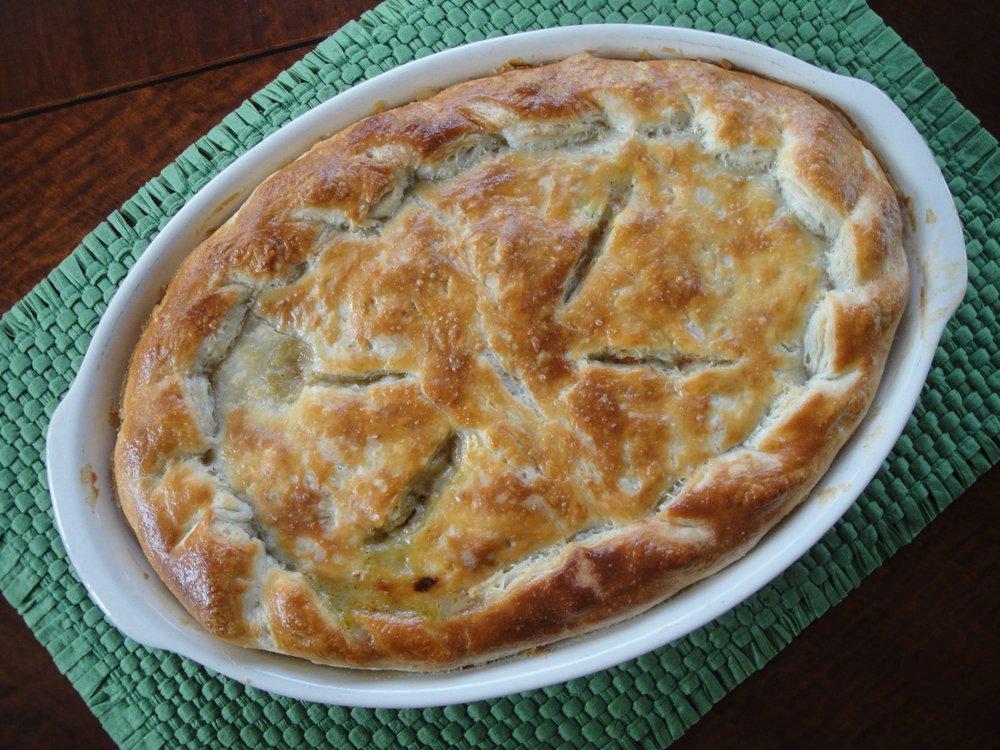 Turkey Pot Pie made in the Adventure Kitchen.