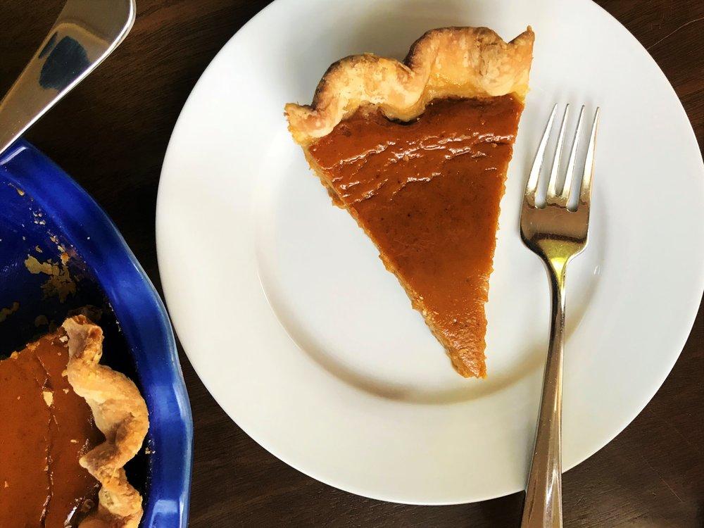 Classic Pumpkin Pie made in the Adventure Kitchen.