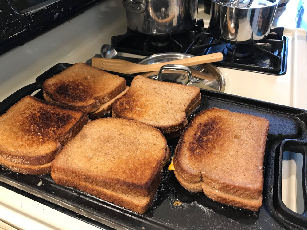 Grilled cheese sandwiches for 5 on my big cast iron griddle.