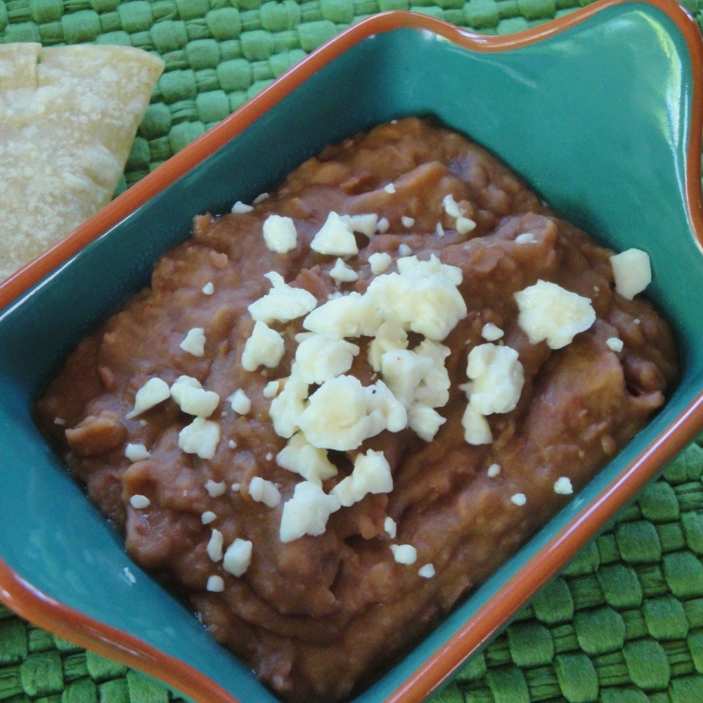 Refried Beans made in the Adventure Kitchen, served with warm corn tortillas