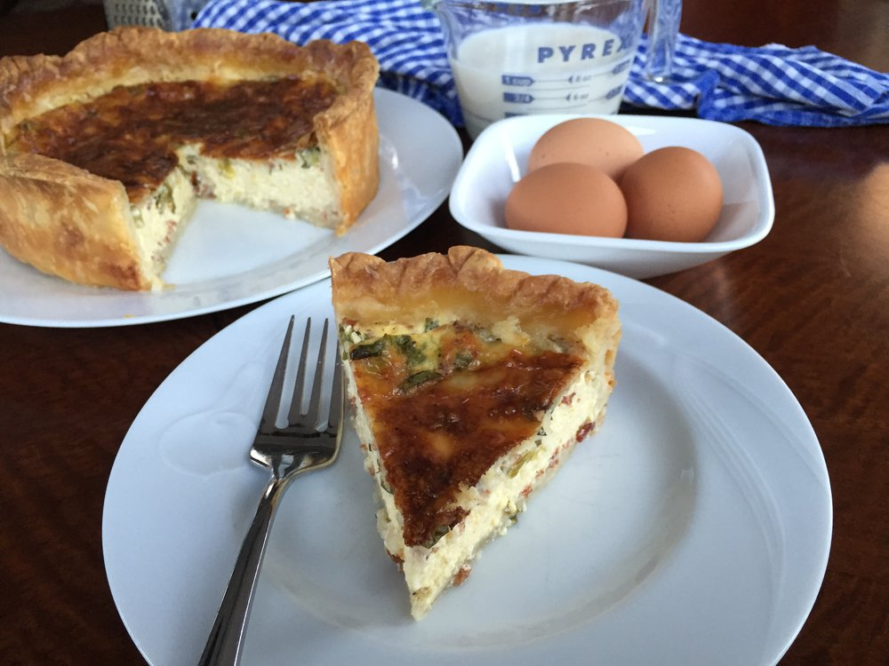 Slice of Quiche, Lorraine-ish made in the Adventure Kitchen in February 2016.