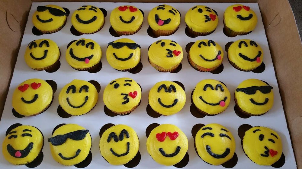 We'll decorate cupcakes to look like emoji faces, like these!