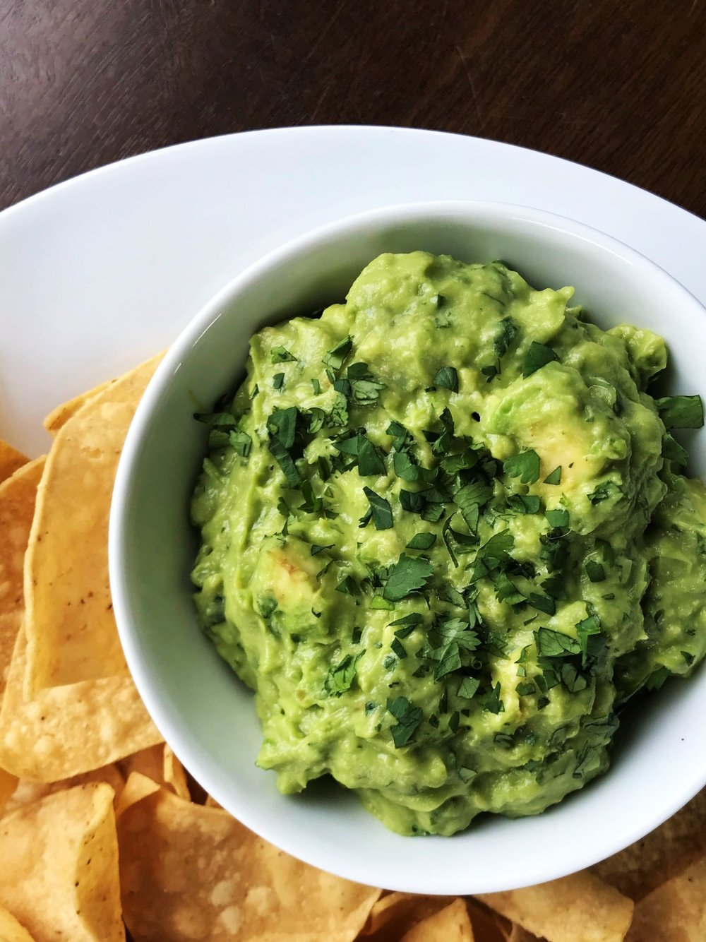 Guacamole served with chips in the Adventure Kitchen.