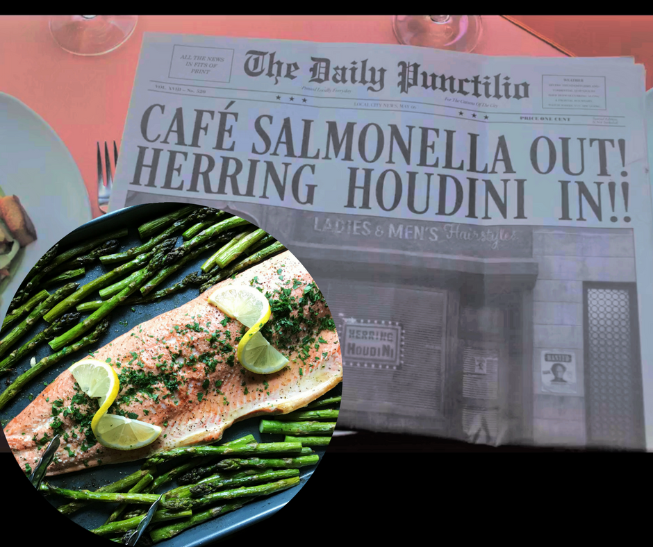This image of fake news from The Daily Punctilio was pilfered from the files of the Netflix corporation. The image of  Lemony-Garlic Salmon with Asparagus  was not pilfered from anywhere.