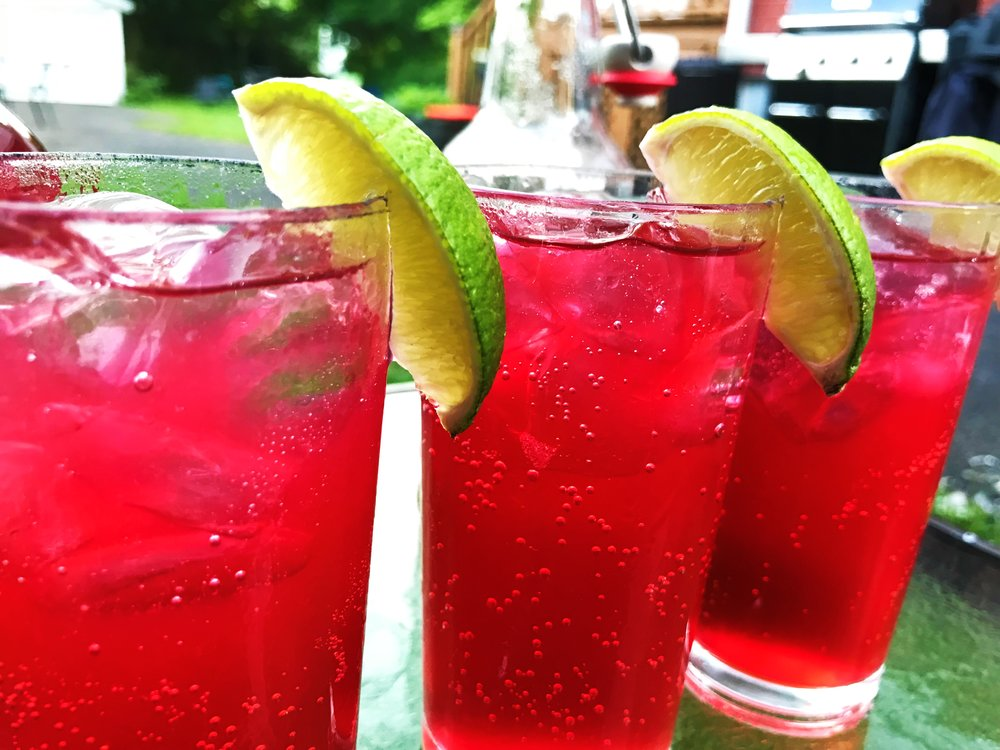 Naturally carbonated Hibiscus Lime Soda made in the Adventure Kitchen.
