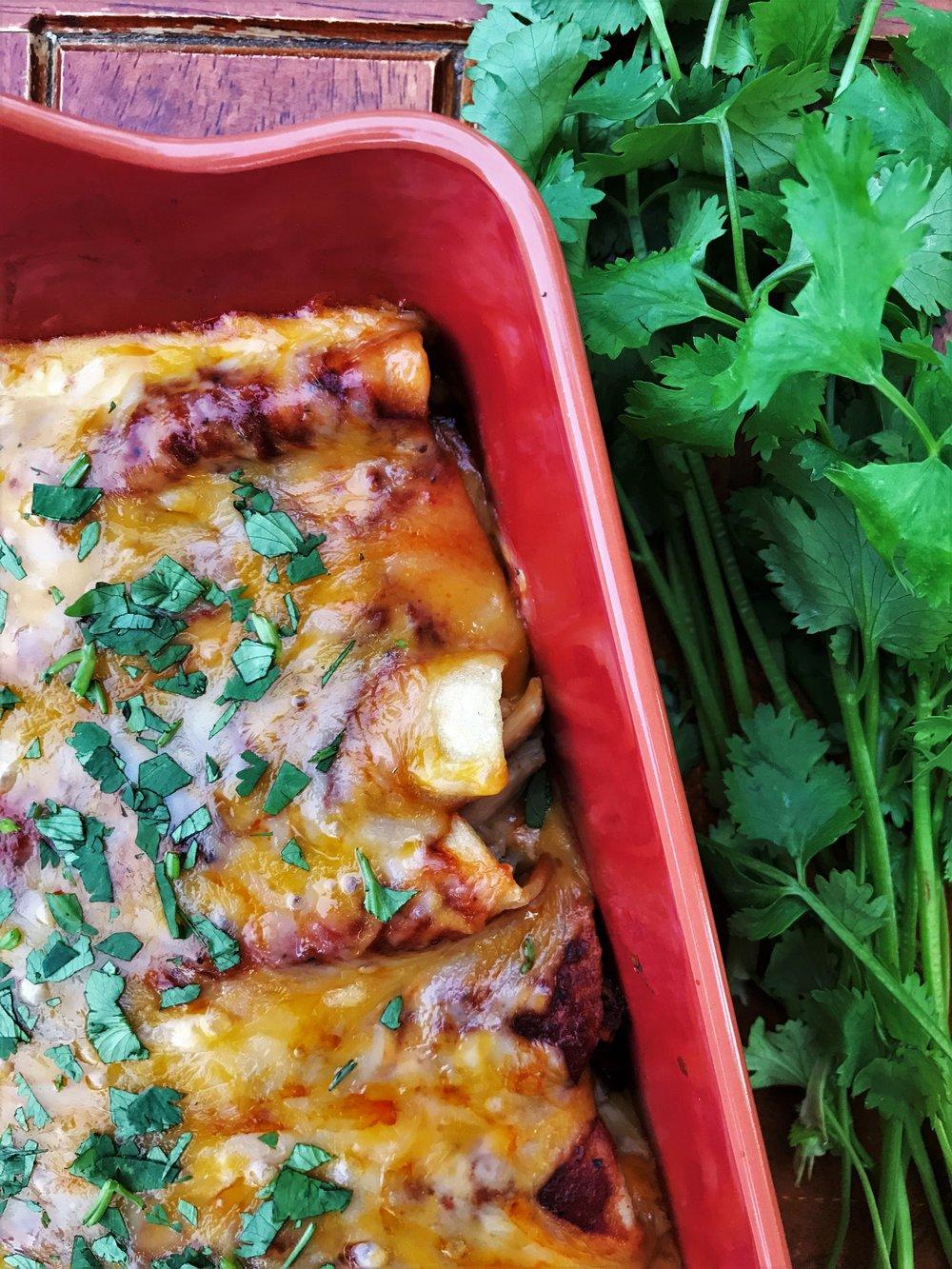 Red Chicken Enchiladas, made in the Adventure Kitchen