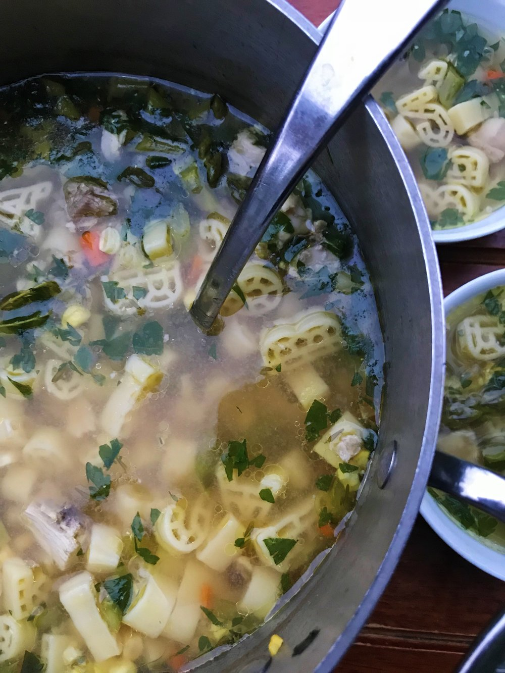 Farm-to-Table Alphabet Soup, ladled up and ready to go.