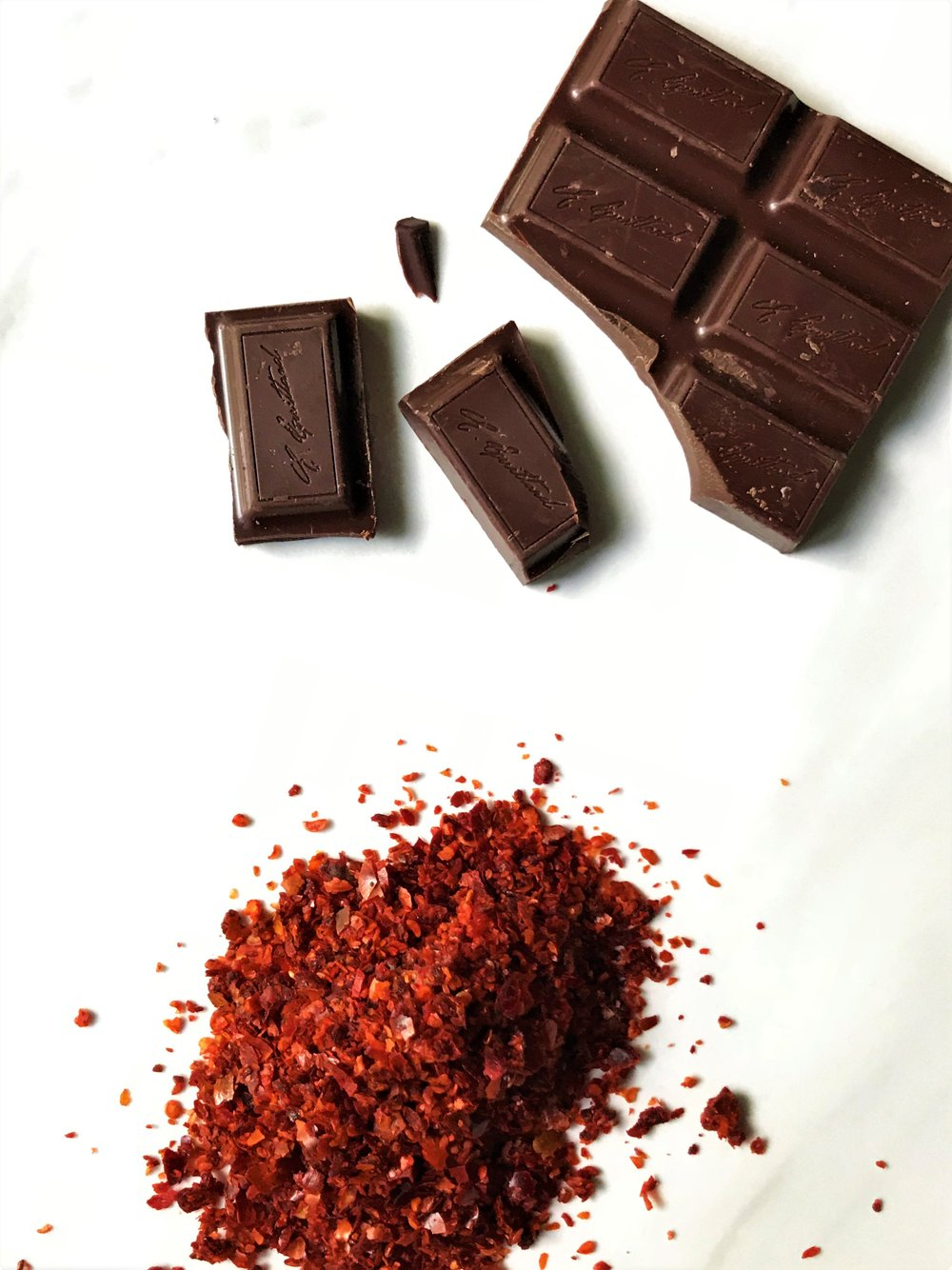 Aleppo pepper and semisweet chocolate, ready and waiting to be made into (sp)Ice Pops.