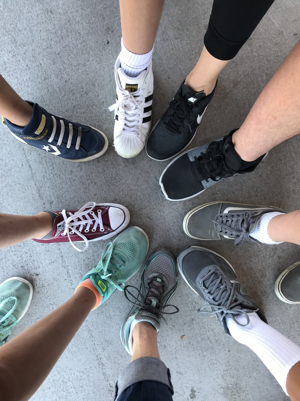 Feet on the platform