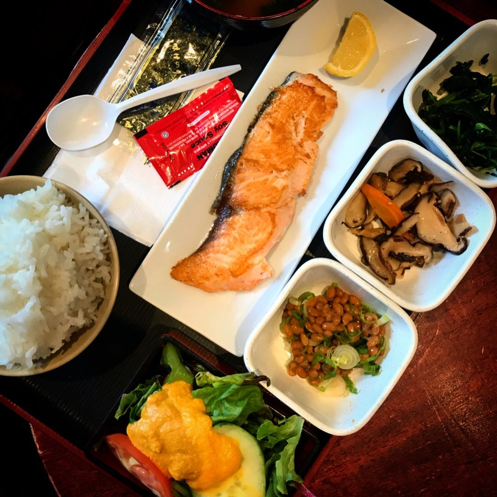 Our Japanese breakfast included salmon, mushrooms, rice, and natto (fermented beans)