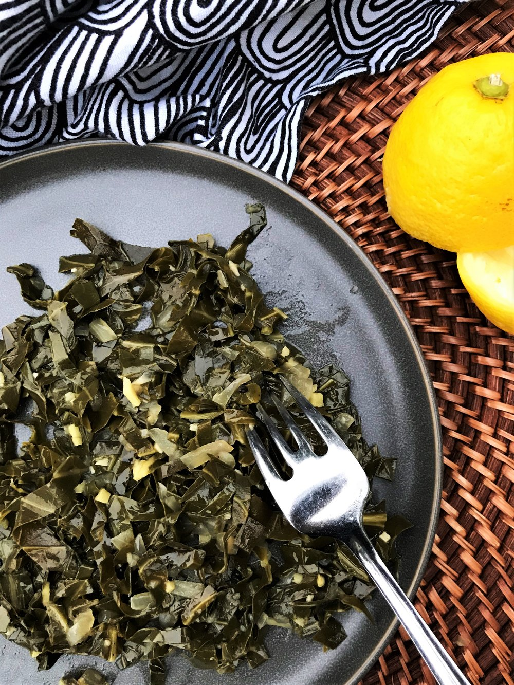 Digging in to my Spiced Collard Greens. (Yum!)