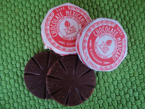 Although Taza is an American company, they import whole cacao beans from good-quality producers and grind them using traditional methods. I love Taza chocolates, both for eating and for making Mexican hot chocolate.