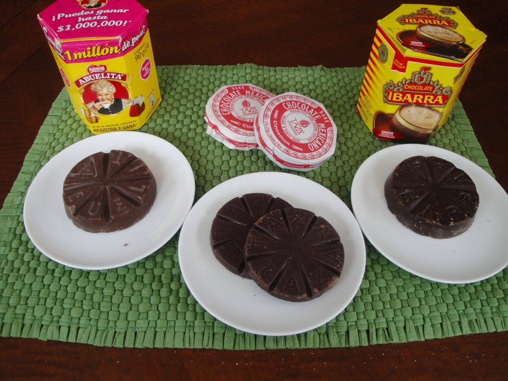 These are the 3 types of Mexican chocolate commonly found in the US and evaluated in this post. From left to right: Abuelita, Taza and Ibarra. Taza is my favorite, judging purely on flavor and ingredients. However, Ibarra is a great choice if you're looking for Mexican chocolate that is actually made in Mexico.