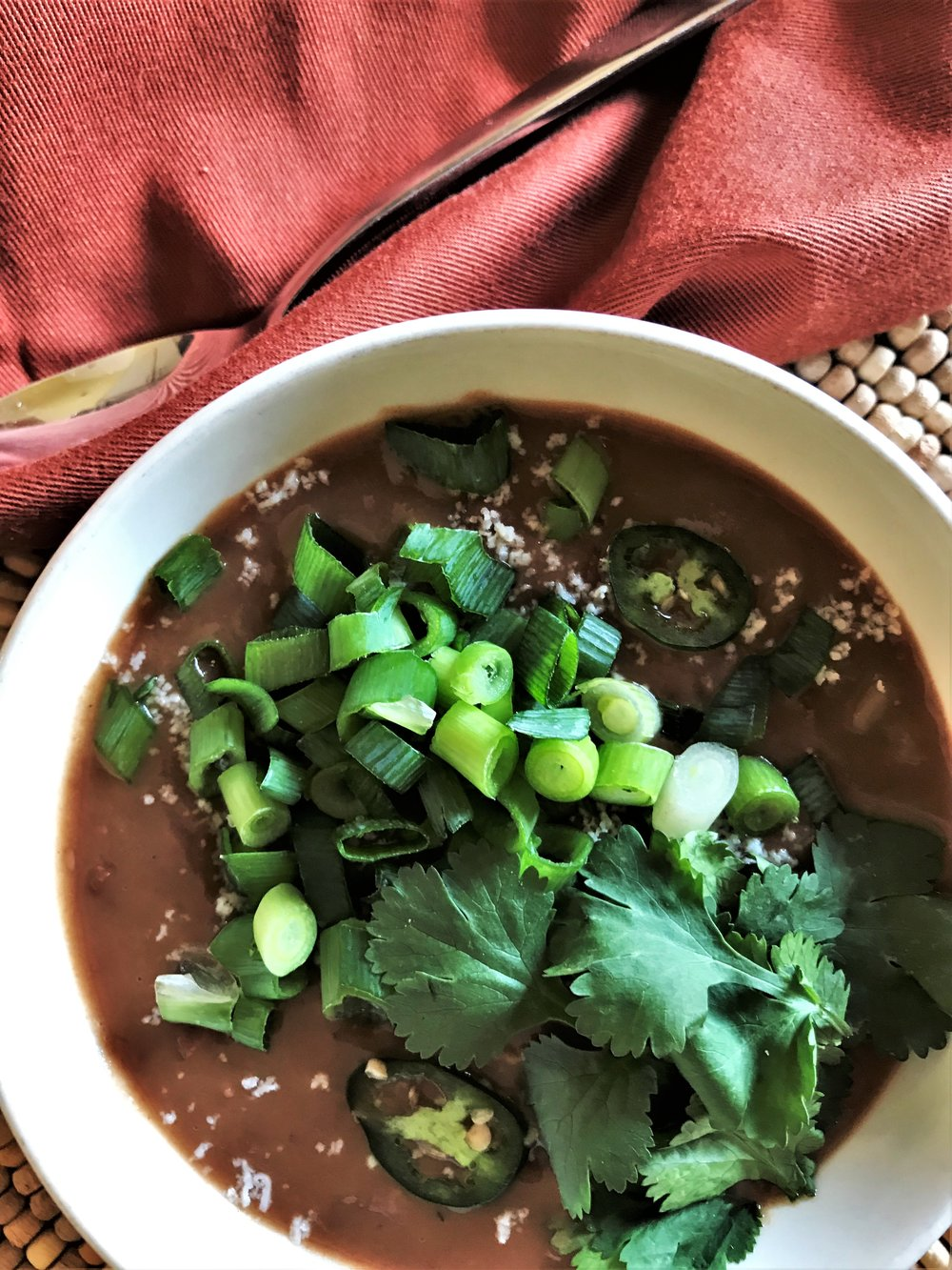 Mexican Bean Broth Soup made in the Adventure Kitchen.