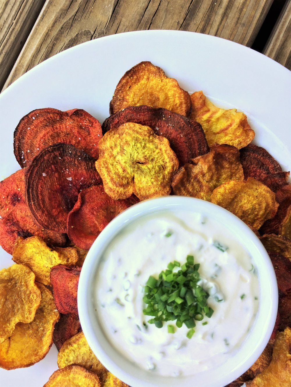 Curried Beet Chips made in the Adventure Kitchen, served with  Creamy Goat Cheese Dip .
