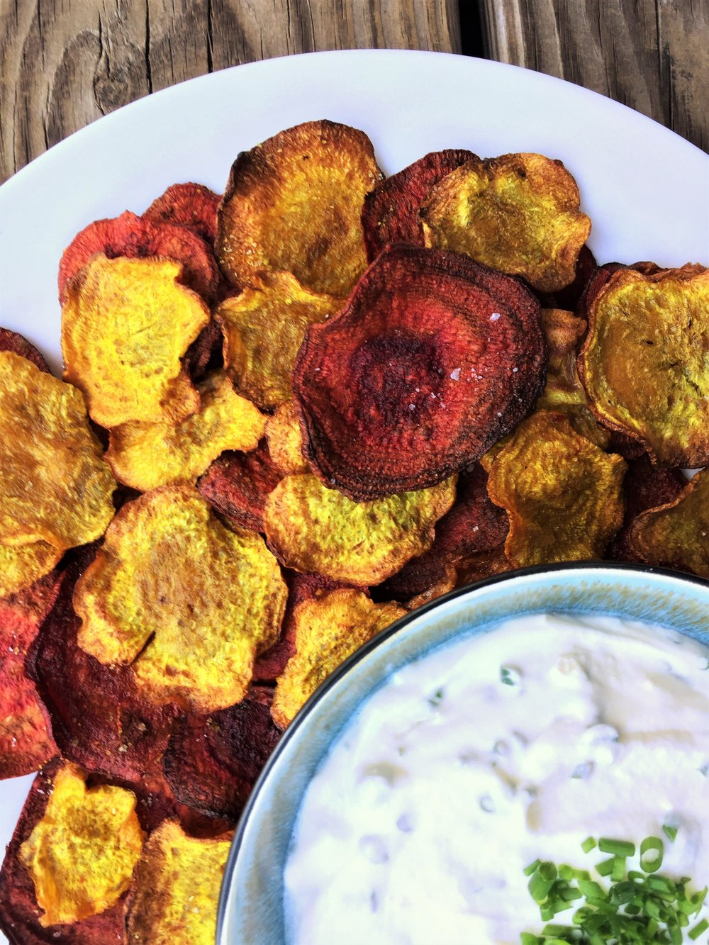 These Curried Beet Chips are ready to scoop up some of that creamy goat cheese dip.