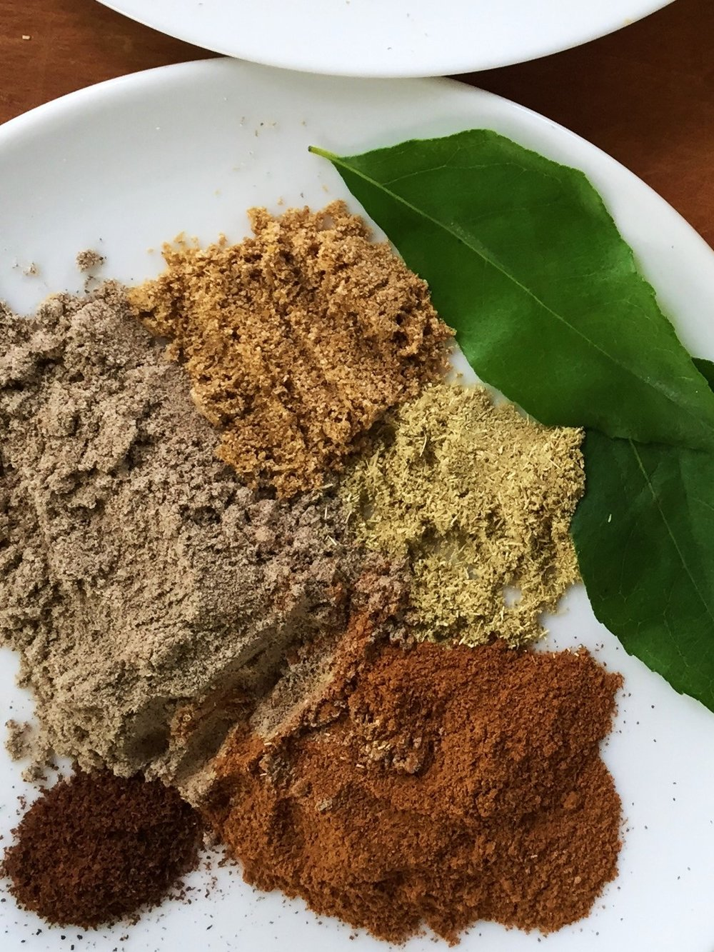Combine the spices together to add with the curry leaves all at once. They'll splatter a lot, so use the pot lid to protect yourself.