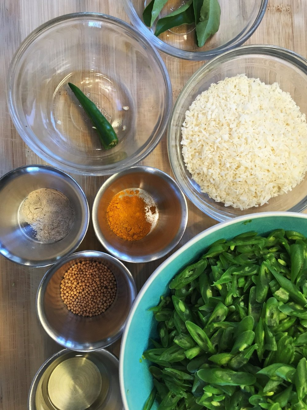 Prepped ingredients, at the ready for South Indian Vegetable Curry. This is the kind of dish where you'll find it helpful to have everything ready before you start to cook.