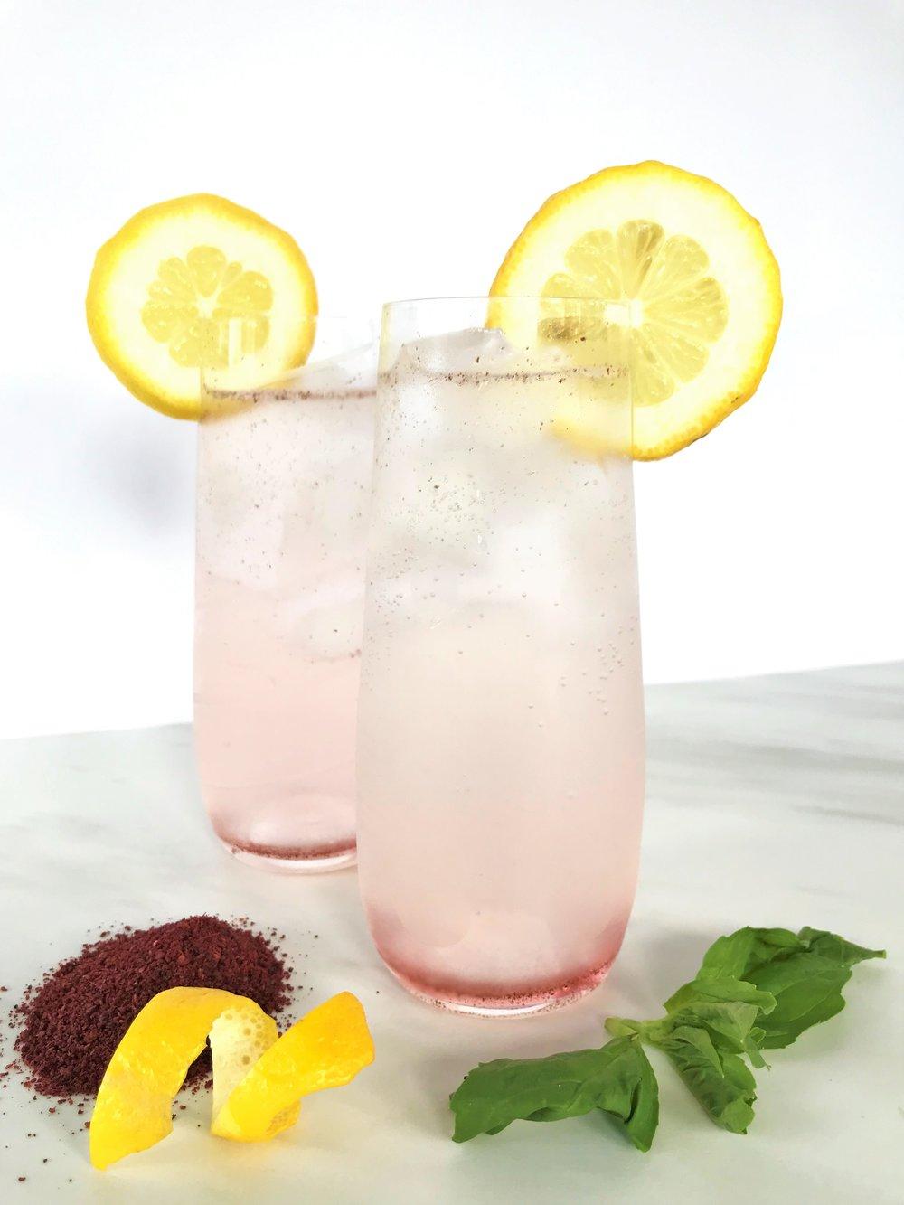 Sumac-Basil Vodka Lemonade Cocktails made in the Adventure Kitchen.