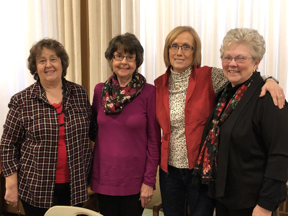 2019 PWC Executive Board - Pictured (R-L) Selene Schulz, Treasurer; Shirley Hinrichs, Moderator; Ann Sundal, Secretary; Jackie Deitz, Past Moderator.