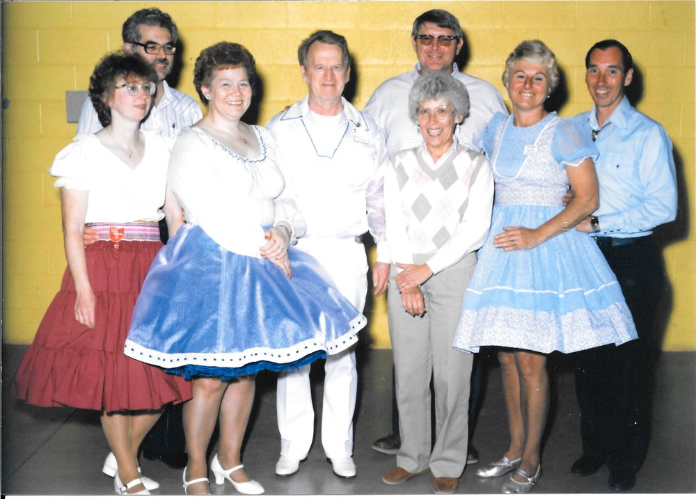 "Bea and Charlie Bard, Mary and Bill Kansorka, Ila Mae and Claren ""Mouse"" Mauer and Barbara and Dick Hahn. (Photo taken mid 1980s)"