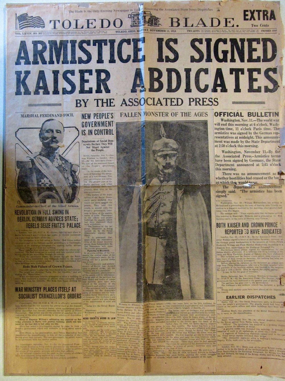 Toledo Blade Extra - November 11, 1918