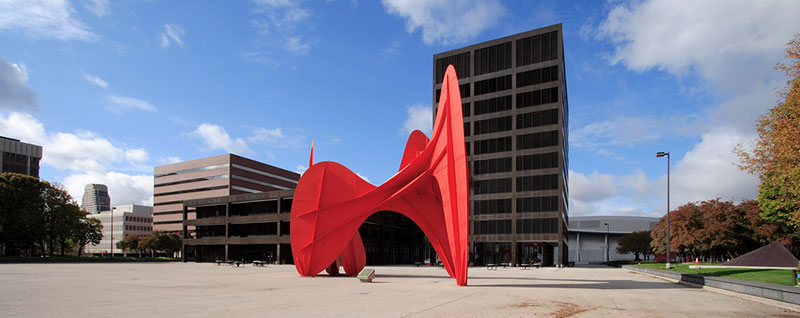 Vandenberg Center (aka Calder Plaza) and Alexander Calder's  La Grande Vitesse , 1969. Steel. 43' x 30' x 54'.    Source: city-data.com