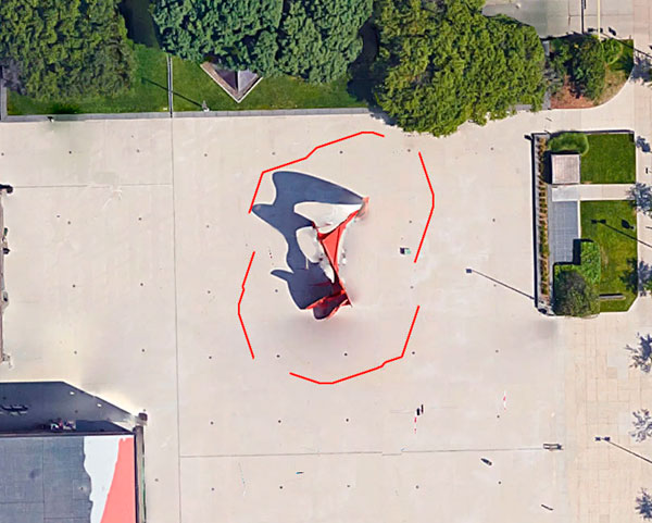 Aerial view of the (invisible)'boundary line' that is 20 feetaway from the footprint of  La Grande Vitesse