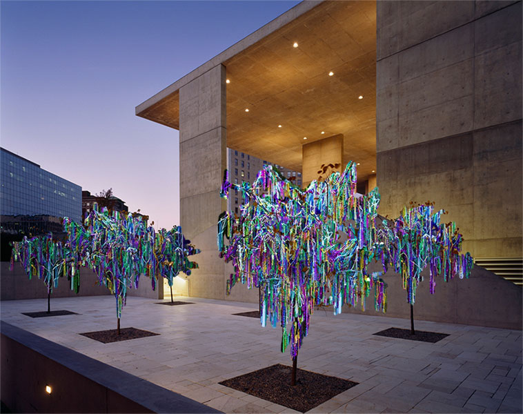 Proposal image for thousands of beads draped on the trees of the Grand Rapids Art Museum's outdoor Pocket Park