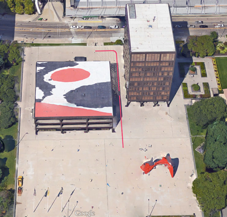 Aerial view of  Revelry's  footprint on Calder Plaza between the Kent County Building and City Hall