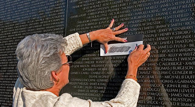 The tradition of pencil rubbing on the Vietnam Veterans Memorial Wall
