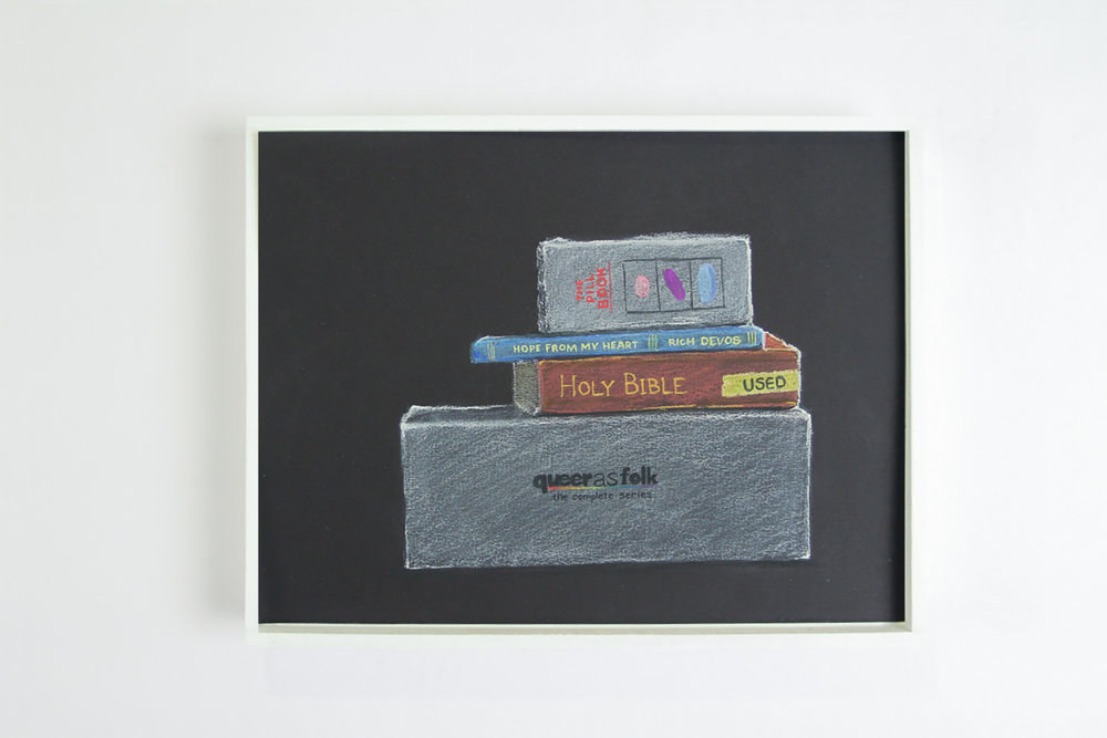"Books and DVDs ,  2017. Chalk-pastel on paper. 9"" x 12""."