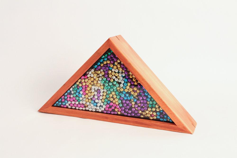 """Triangle Box, 2017. Plastic, wood. 8.75"""" x 17"""" x 3.25"""""""