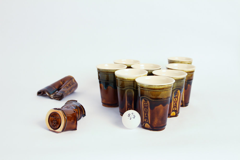 Solo Cups, 2017. Porcelain. Variable dimensions.