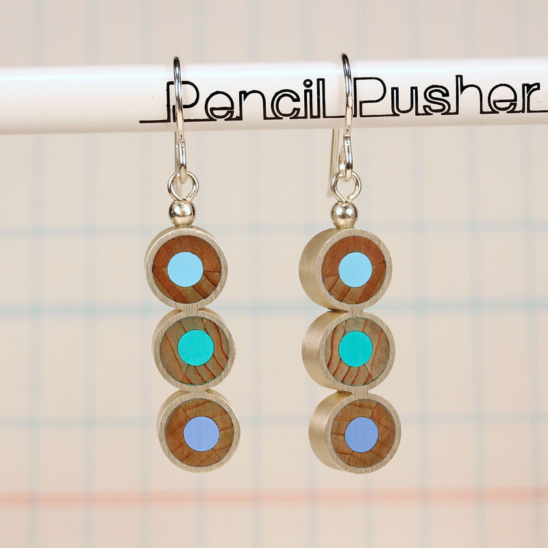 Pencil Pusher Art & Jewelry Sterling Silver & colored pencil earrings $69