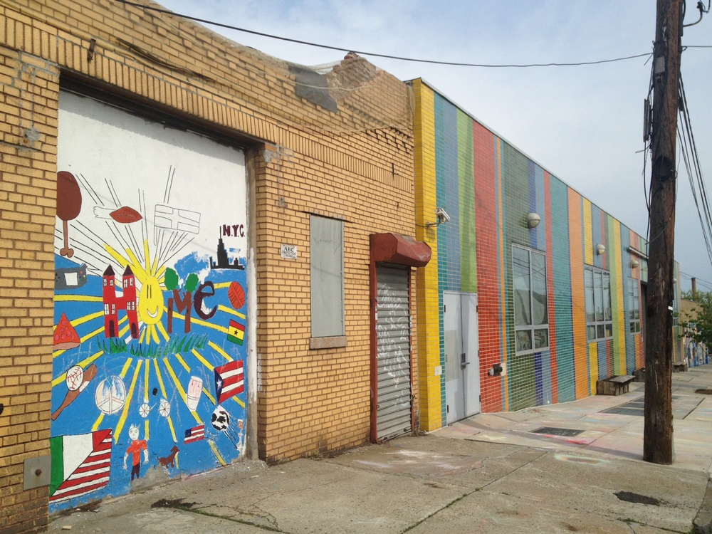 Here's my former school in the Hunts Point neighborhood of the Bronx. Love the colors and the unfinished mural my students and I were working on.