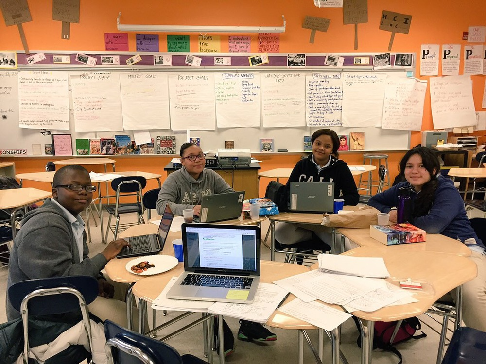Our grant editing committee was made up of four of students who stayed after school on a Friday to piece everyone's writing together, work on the budget, and enjoy some pizza.