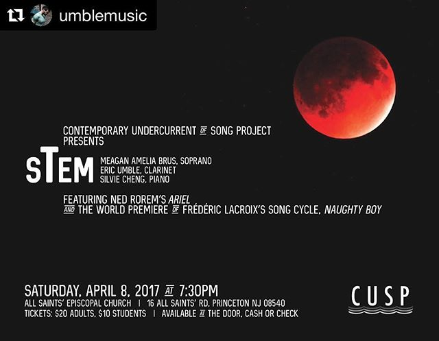 We had SUCH an amazing time performing in Princeton this weekend! Thank you @allie_face !!! #repostapp @umblemusic with @repostapp ・・・ Coming up on April 8th! @allie_face and the Contemporary Undercurrent of Song Project present @stemmusic! Featuring sTem classics by Rex Isenberg, Ned Rorem, Daniel Catán, and a world premiere by Frédéric Lacroix! @silviecheng @meaganamillion . . . #vocalchambermusic #soprano #clarinet #piano #contemporaryart #contemporarymusic #chambermusic #artsong #voice #rilke #sylviaplath #worldpremiere #livemusic #classicalmusic #performance