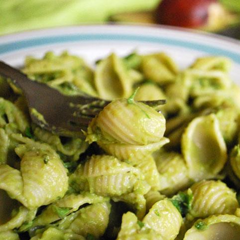 Pasta with Pesto Avocado Cream Sauce