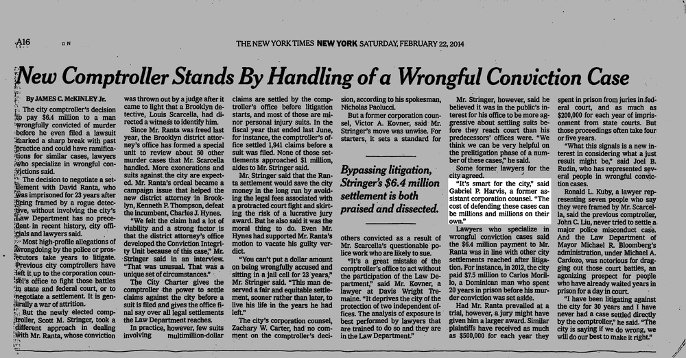 New York Times, February 22, 2014