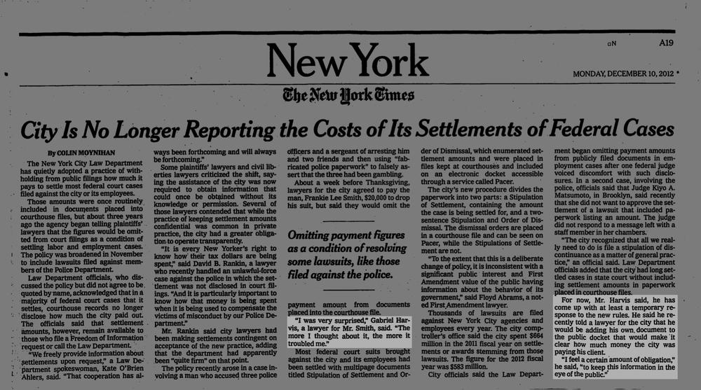 New York Times, December 10, 2012
