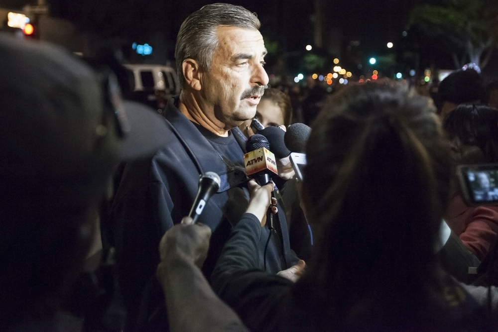 LAPD chief Charlie Beck talks to news media after the arrest of more than 100 protesters during a rally in opposition to the non-indictment of officer Darren Wilson after the shooting death of Mike Brown after an altercation in Ferguson Miss. Wednesday Nov. 26, 2014. Los Angeles, Calif.