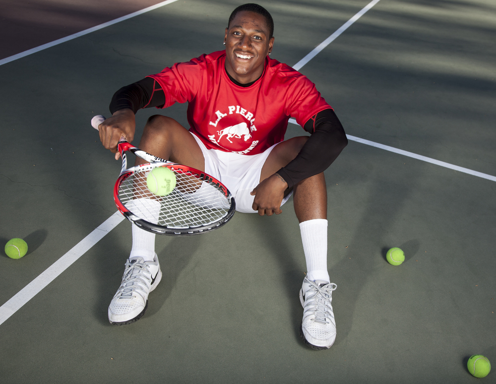 Jason Sturdivant, captain of both the tennis and football team and an Army vet, poses on the tennis court of Pierce College on Thursday, March 12, 2015. Woodland Hills, Calif.  Read the full story here