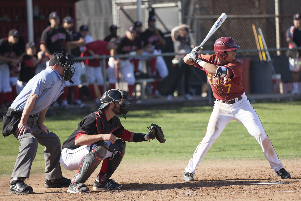 Glendale College outfielder Cristian Montes goes up to bat in a game against Pierce College on Saturday, Feb. 13, 2016 in Woodland Hills, Calif. Glendale would go on to win the game with a score of 15-6.