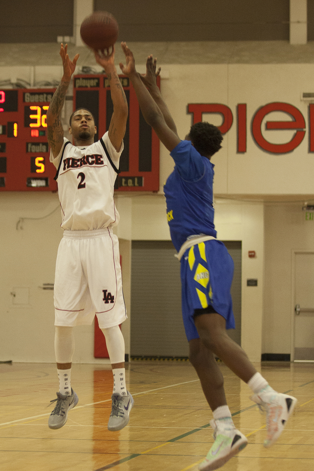 Kenny Stenhouse attempts a jump shot during a home game against Allan Hancock College on Saturday, Feb. 13, 2016 in Woodland Hills, Calif.