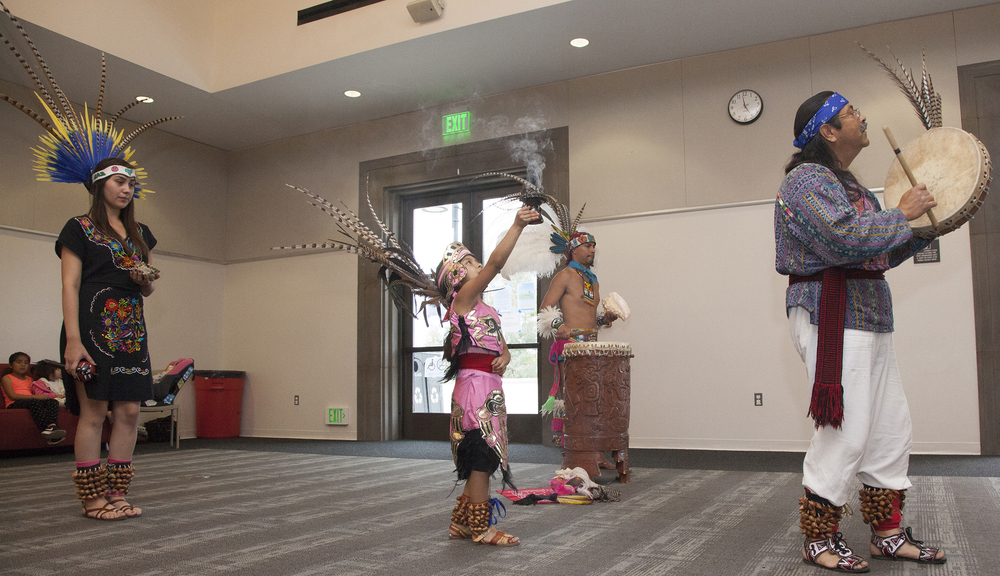 Grupo Ajolote begin an Aztec ritual inside The Great Hall in Woodland Hills, Calif. on Thursday, May 5, 2016, for the 1st Annual Cinco de Mayo Celebration. Cinco de Mayo marks the event when the Mexican army defeated the French forces at the Battle of Puebla.