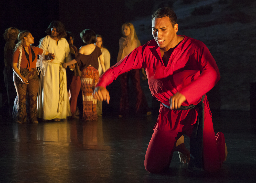 """Ean McCabe plays the role of the devil during one of the dance pieces for the concert """"Vignettes."""" During this portion of the concert, McCabe tries to tempt Jesus but fails to do so. Vignettes opens at the Performing Arts Center of Pierce College in Woodland Hills, Calif. on Friday, May 20, 2016."""